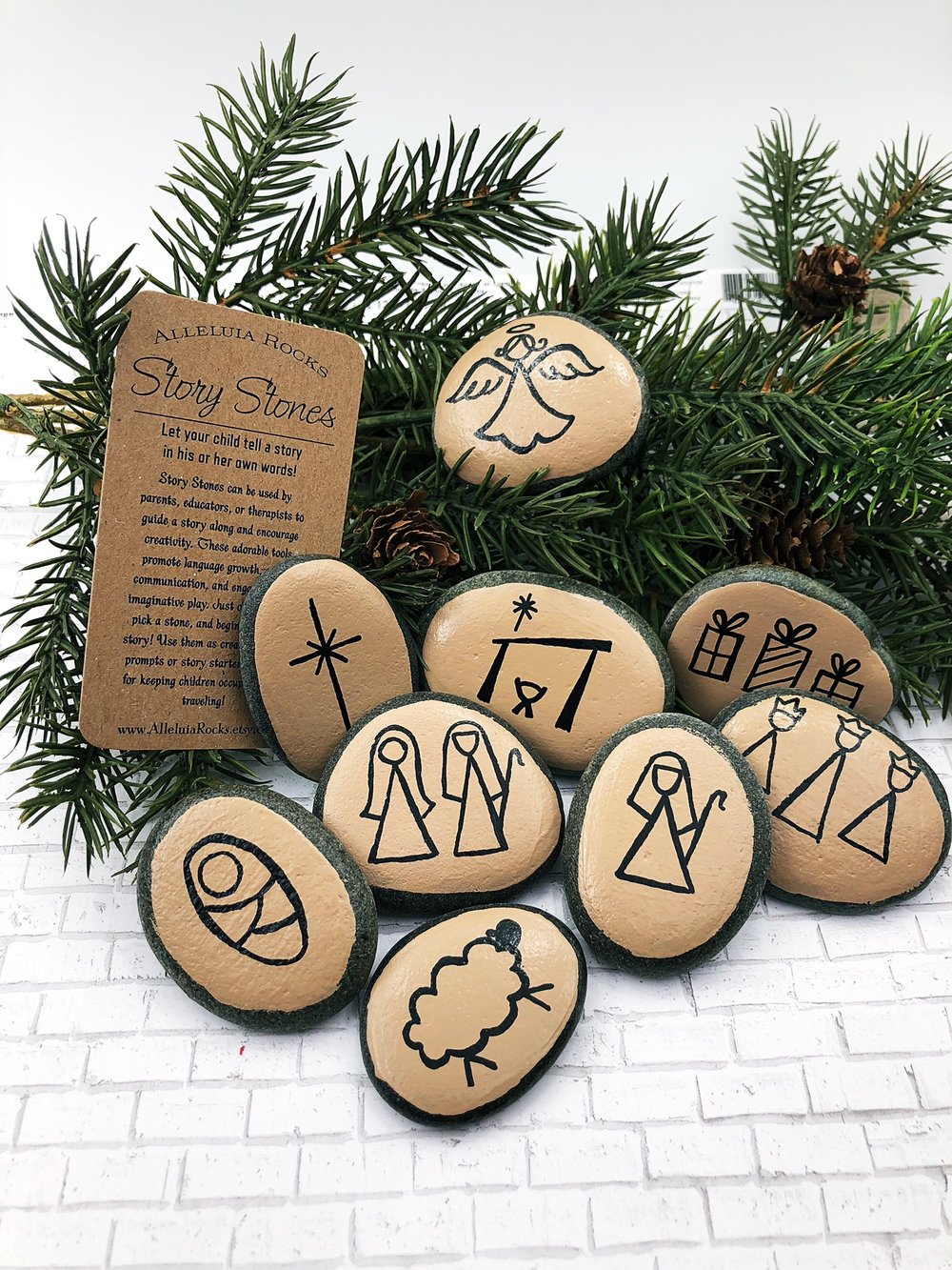 Nativity Story Stones with Tan Background