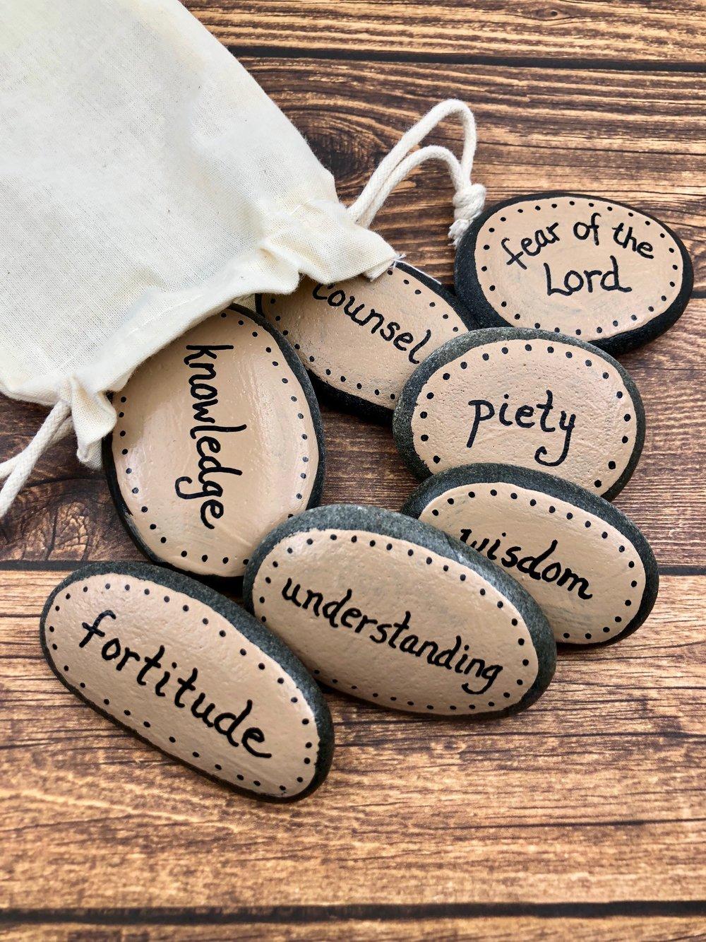 Seven Gifts of the Holy Spirit Confirmation Gift, Set of 7 Catholic Holy Spirit Stones