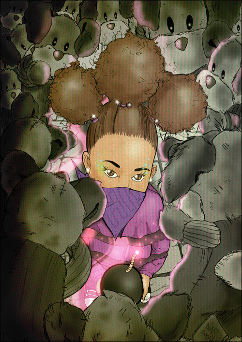 Illustration of my sister surrounded by lots of Rudolphs (teddy bear given to me by my aunt as a child)