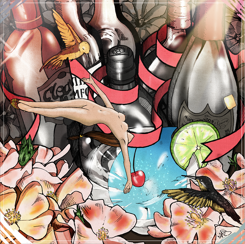 Go - (2009) - Made this whilst I was a design intern at Dior Jewellery - I was surrounded by all of these bottles of Dom P and flowers in the office and that definitely had an influence. The woman isn't based on anyone I know either.