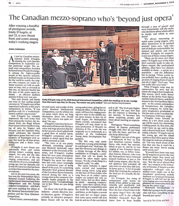 """Beyond Just Opera"" - This feature article on Canadian mezzo soprano Emily D'Angelo was published in the Globe and Mail on November 3, 2018."
