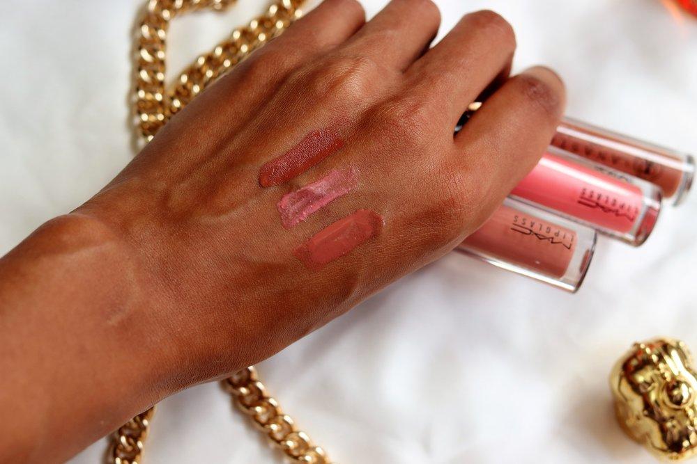 Front to Back :    MAC Lipglass - Lust      MAC Lipglass -Pink Lemonade      Anastasia Liquid Lipstick - Ashton