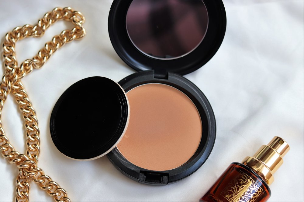 MAC - Pro Longwear pressed powder. I picked this up to keep in my purse for touch ups throughout the day to remain as matte as possible!Shade - Medium tan