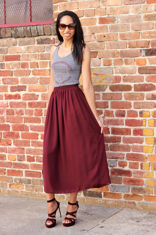 Harvard t shirt and burgundy skirt
