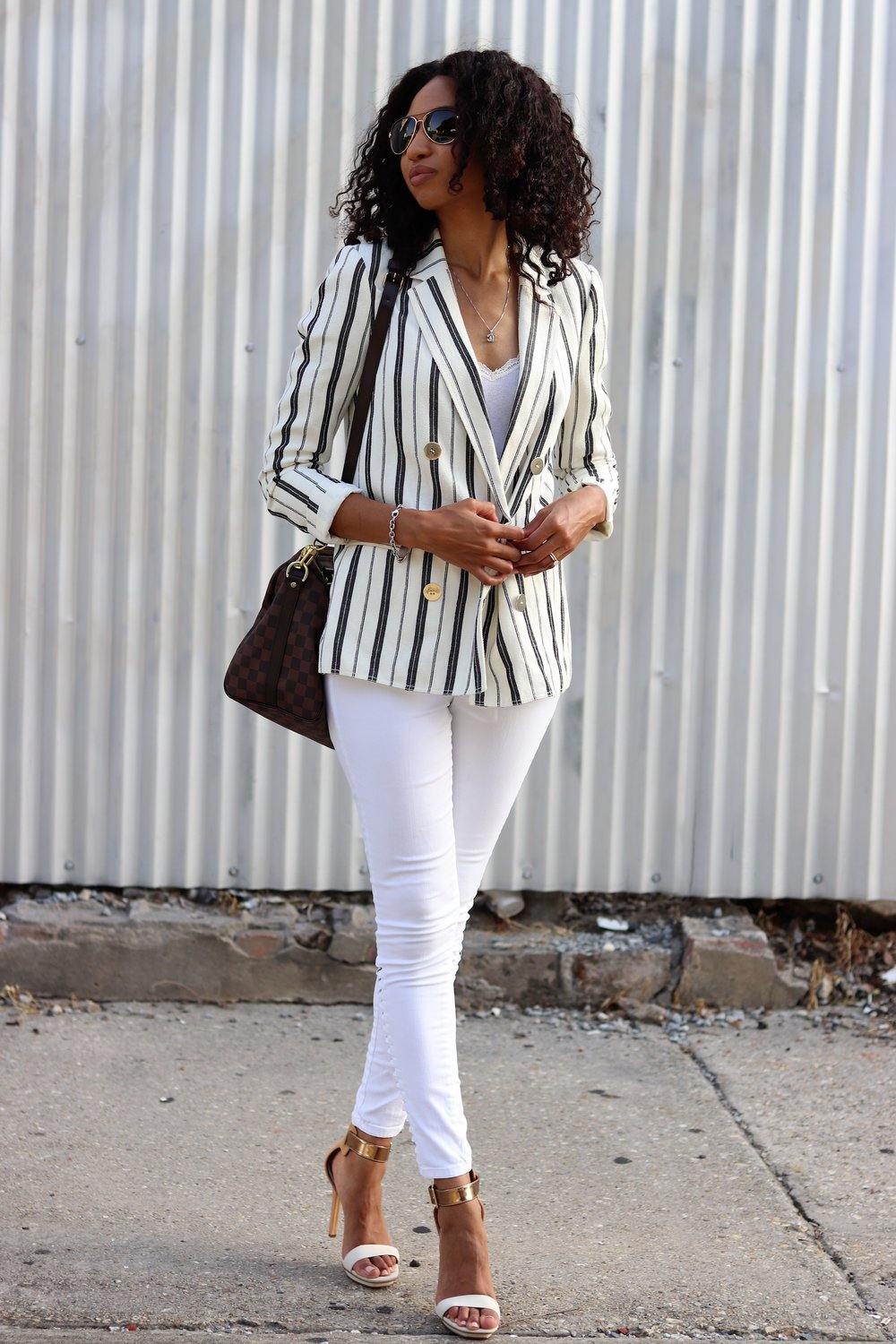 Claudie Pierlot - My relatively new white striped Claudie Pierlot white blazer has quickly become a wardrobe staple. I was first introduced to this brand in Milan and I fell in love with the romantic style. The Parisian fashion house owns two other companies I have quickly become obsessed with Maje and Sandro.