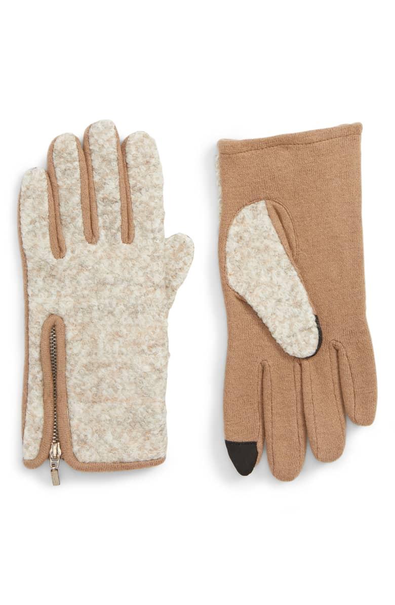 Zip Bouclé Touchscreen Gloves -