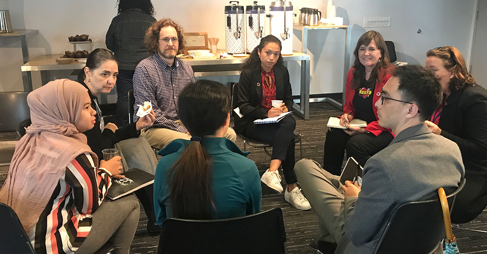 Jeanne Holm and participants collaborate at Data Day 2018, Sept. 28, 2018