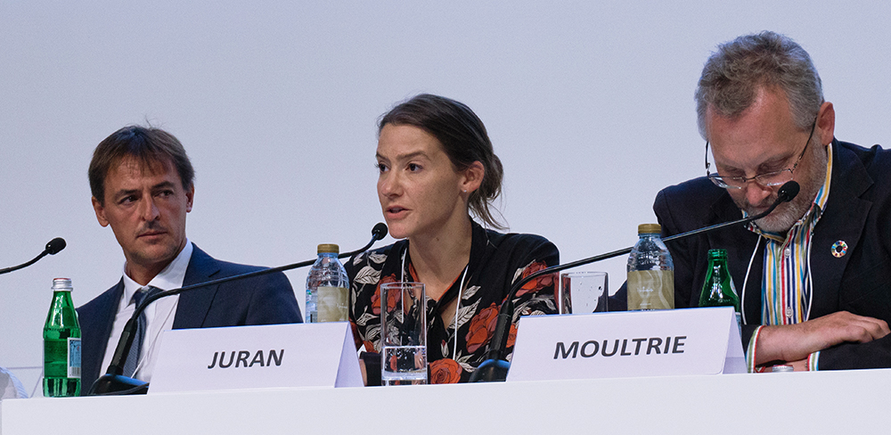 Sabrina Juran (UNFPA) speaks on the Population Monitoring Continuum panel at the UN World Data Forum, October 22, 2018. Source: Jay Neuner for TReNDS