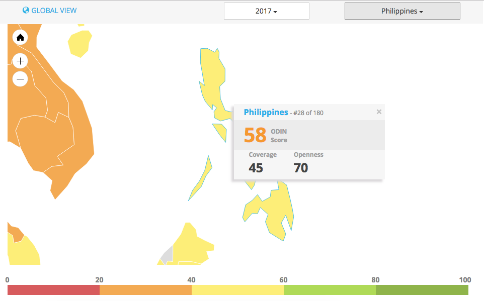 The Philippines ranking on the Open Data Inventory (ODIN).  Accessed Nov 06, 2018. Source: Open Data Watch.