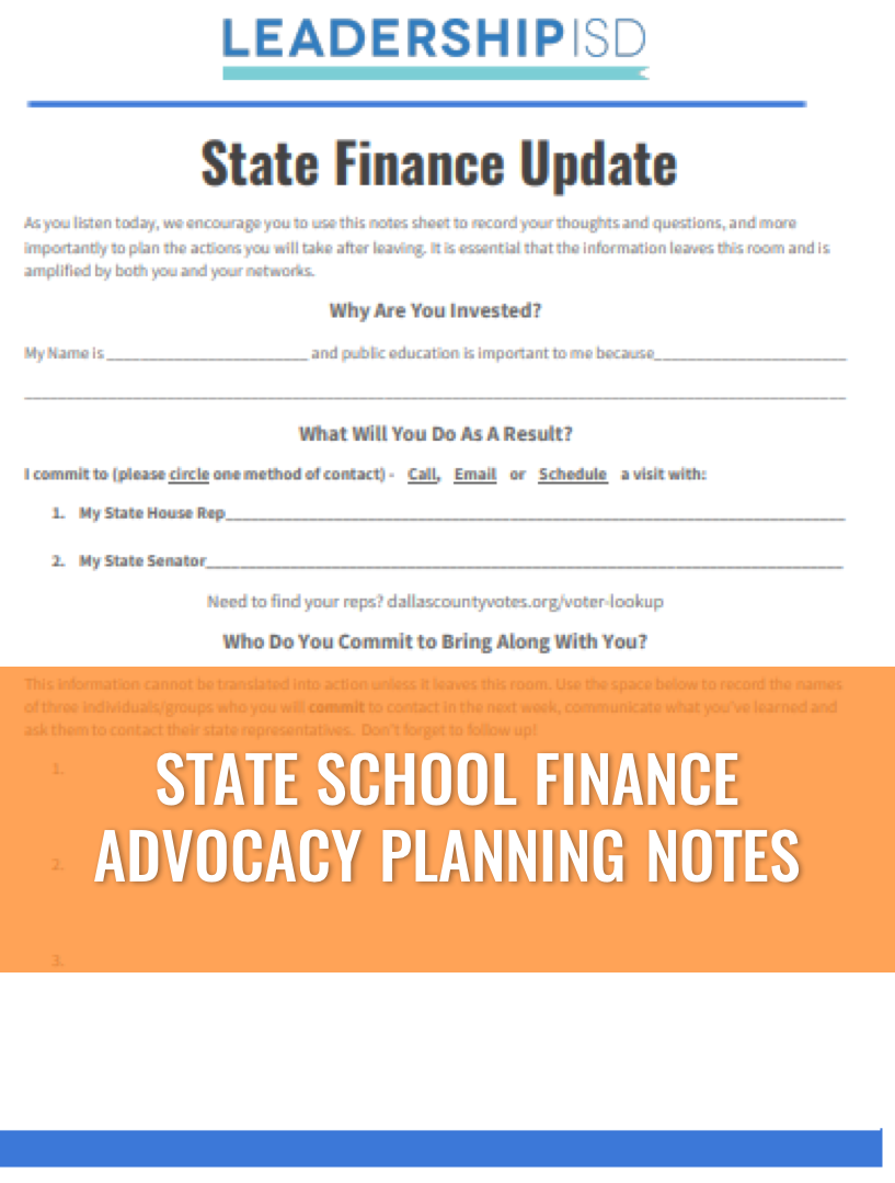 STATE SCHOOL FINANCE      ADVOCACY PLANNING NOTES
