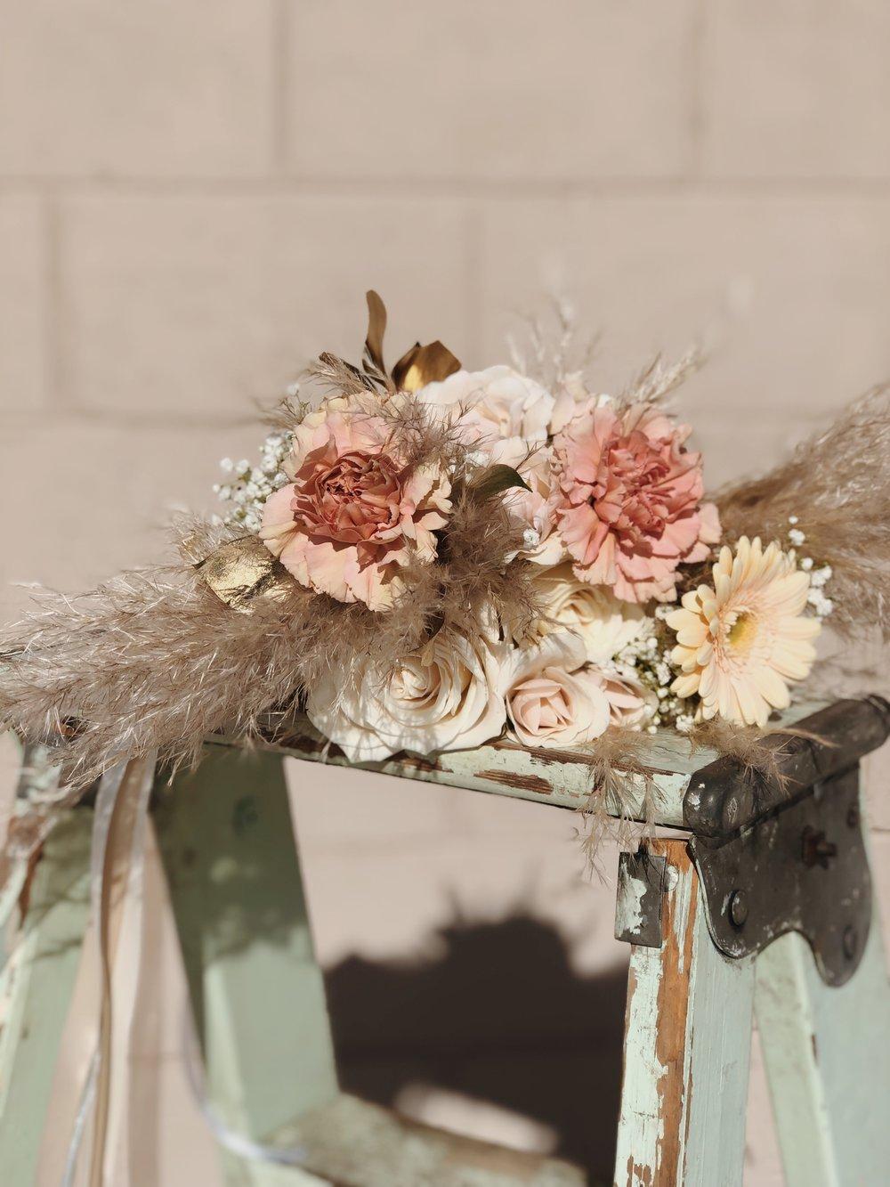 Peach white ivory & pampas grass Florescence Flower Studio