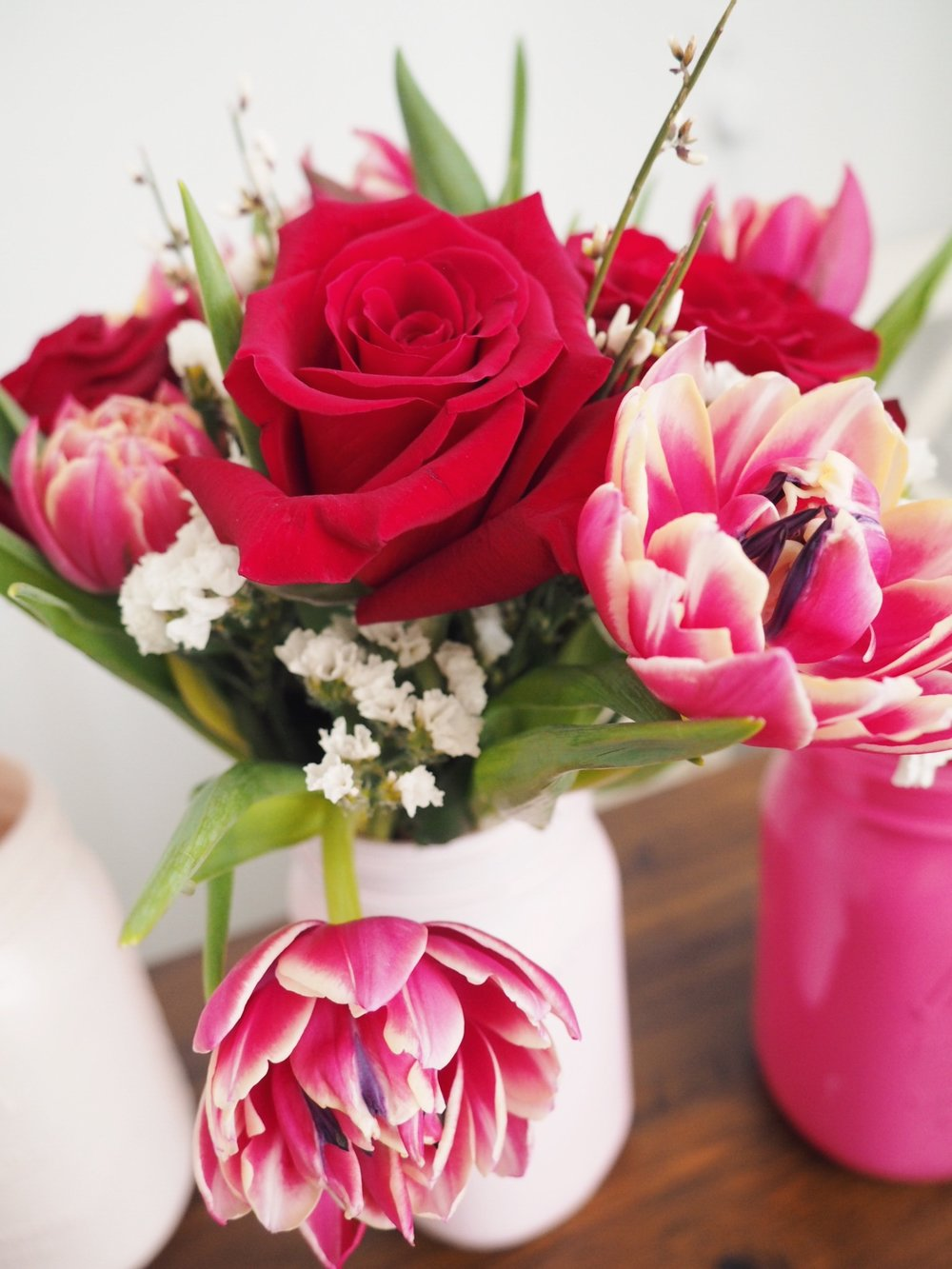 Valentine's day special double tulip and rose Florescence Flower Studio