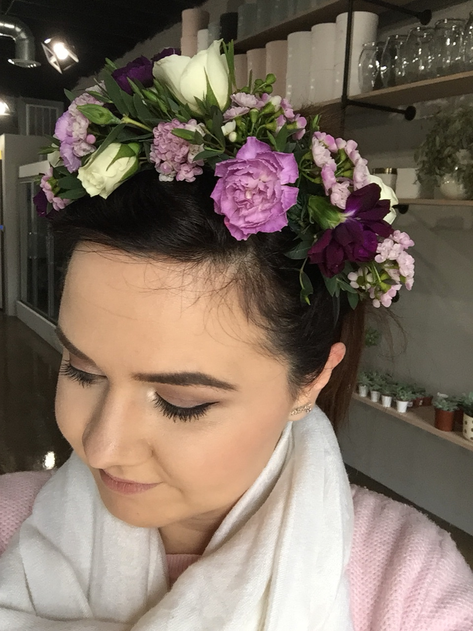 Florescence Flower Crown Purple and White