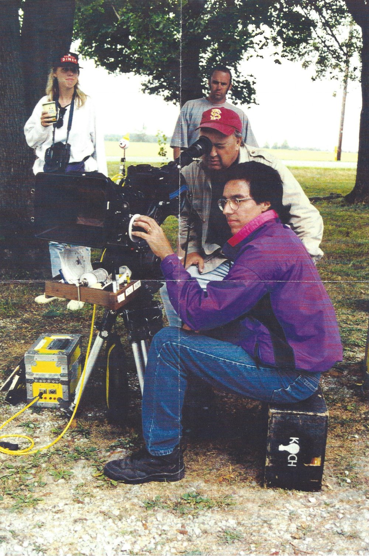 Movie Shoot: James Dean Estate Indiana, John Germaine in red Florida State University ballcap