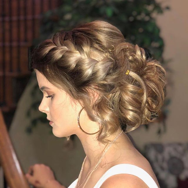 Prom is coming up, call us to start booking.  Gorgeous updo by @alyssaallenbaugh_larouxsalon