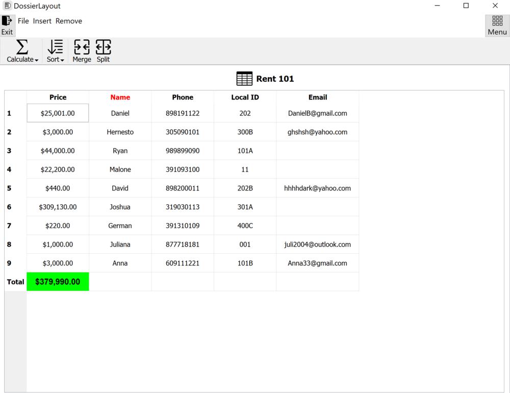 DossierLayout - Data Management App