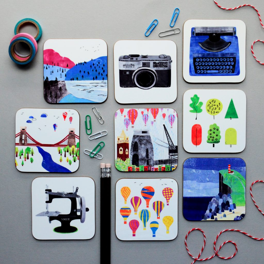 Assorted Collage Coasters by Clabon Illustration
