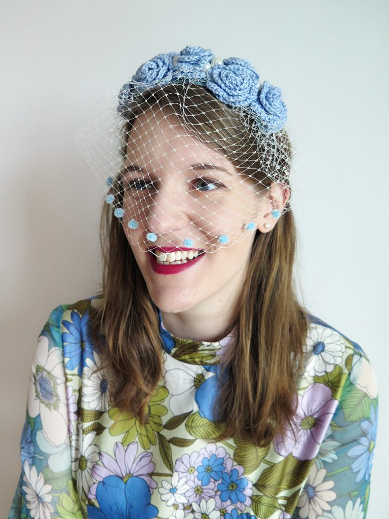 Blue Bridal Flower Crown / Birdcage Veil by To Be Adorned.