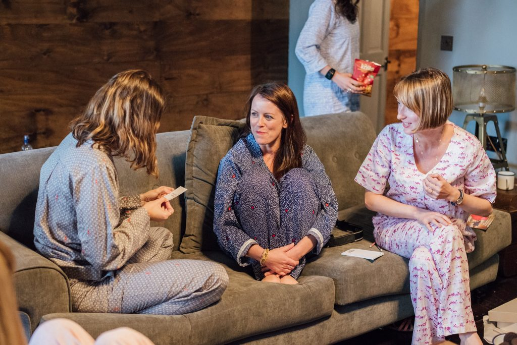 Nancy, Laurie and Emma playing games in lovely Yawn PJs.