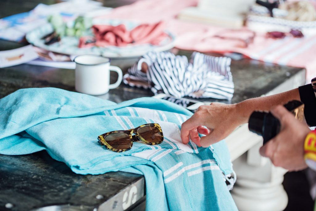 Amanda styling up some Ollie Quinn sunnies and a Hammam Havlu towel.