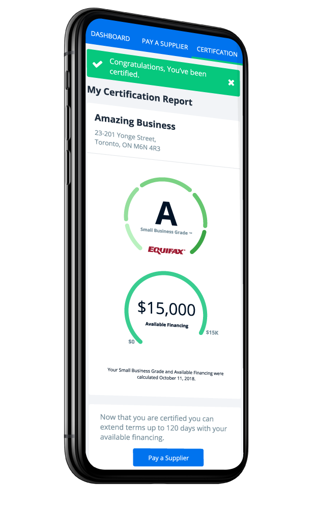 Ario platform lending solution shown on a mobile phone. The business is certified with an Equifax small business grade and has an available funding limit of $15,000.
