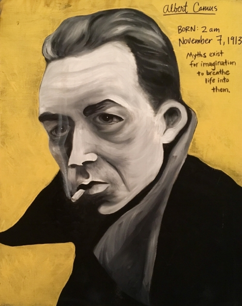 Painting of Albert Camus by Rita J King