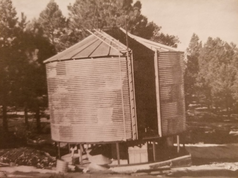 The Grain Bin Dome, purchased in 1948 was the first building on the site dedicated to housing the telescopes. The name comes from it's intended function - it is actually a modified grain bin, purchased from the 1948 Sears & Roebuck Catalog. Image Courtesy of the Natl. Solar. Obs.