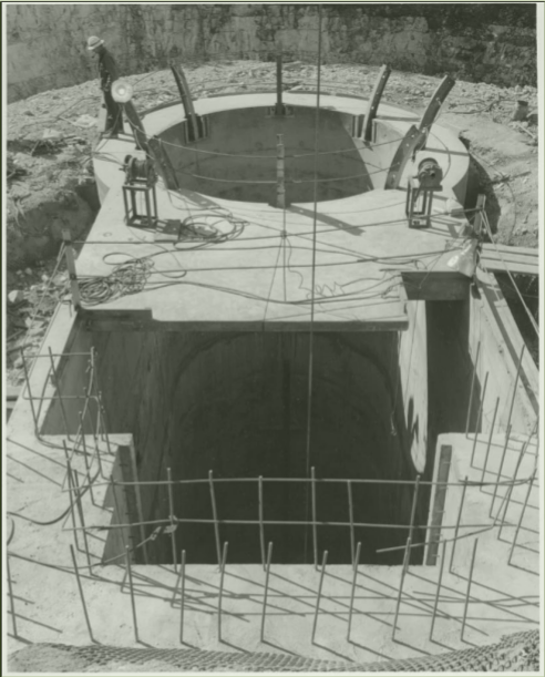 Concrete being set into the 228 ft deep pit meant to house much of the Vacuum Tower Telescope/Richard Dunn Solar Telescope. The pit was created in 1966, and the telescope was finished in 1969. Image Courtesy of the Natl. Solar Obs., and Horst Mauter - chief observer at Sunspot for many years.