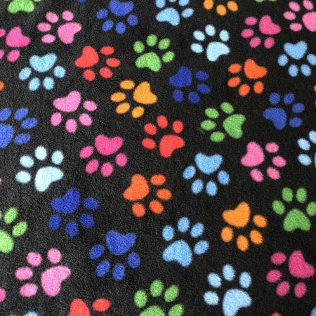 Black Multi-Coloured Paw Print Fleece