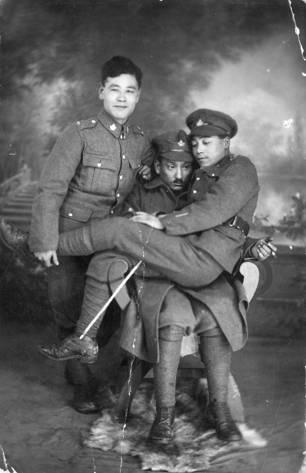 Pte. Okutake and friends pose for a photograph  Galt Museum & Archives accession number: P20171056001