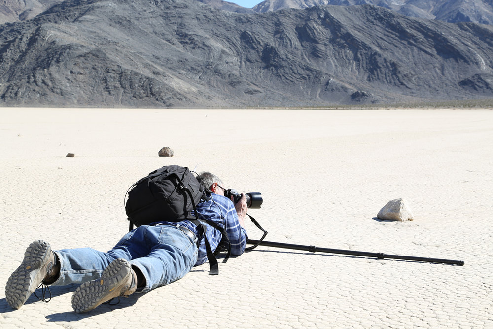 "Mike shooting in the Death Valley ""Racetrack"""