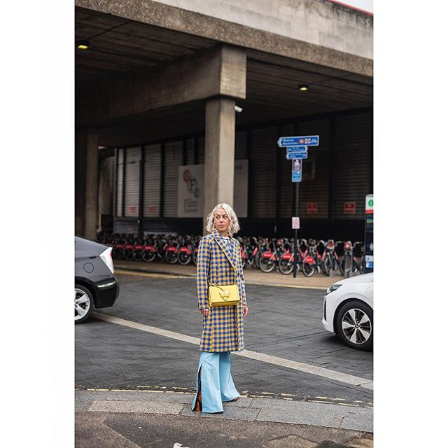 I shoot to #document a moment, or because I simply like the #style or to translate a #trend... I shot this because these baby blue #flares are 👌🏼(to see more of my #lfw day 2 images check out my stories)