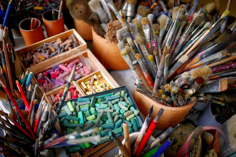 pastel art materials paint brushes