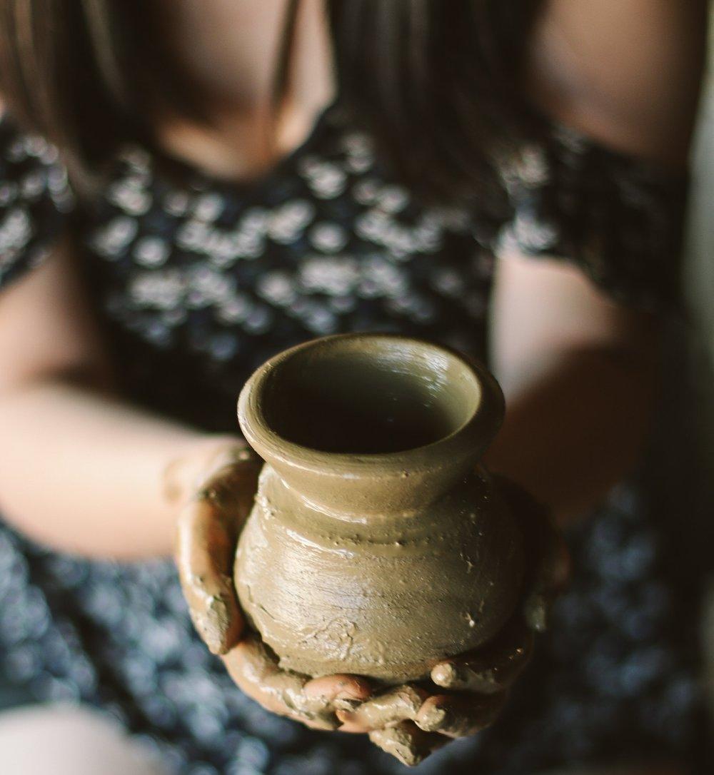 ceramic bowl in woman's hand art therapy malvern pa