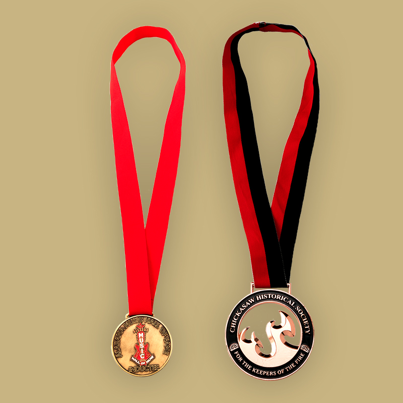 Die Struck Process - Copper Plated - Filled With Enamel Coloring - Attached Neck Ribbon