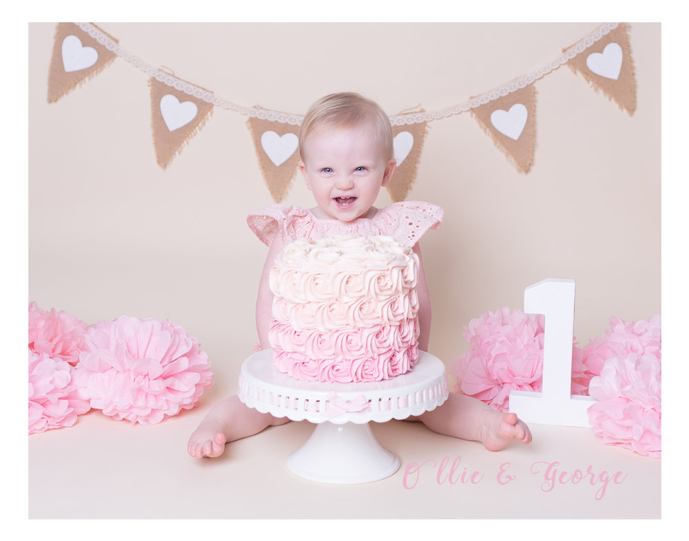 Preston photographers cake smash and splash photography sessions Ribble Valley Lancashire, pink ombre cake