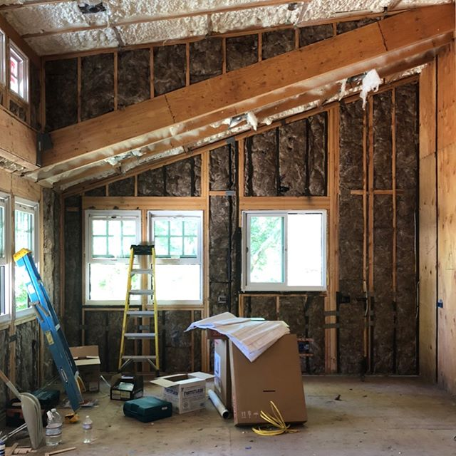 A few weeks ago this bungalow was just bare bones. The addition of drywall, paint and cabinets have made it come alive. Check back soon to see our finished, thriving product!  #tbt #guesthouse #bungalow #construction #beforeandafter #progress #kitchenremodel #breakfastnook #customcabinets #kitchenisland #craftsman #custombuild #kitchen #house