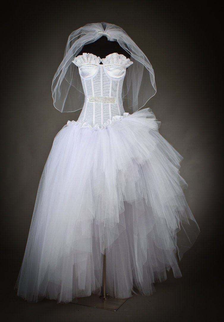 fe62d255f4d20 Size Medium White Madonna inspired wedding gown high low Ready to Ship with  Veil