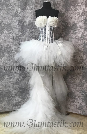 45cc4fd356 READY to SHIP Size medium White tulle rose lace high low Burlesque feather  Corset Prom day il fullxfull 1331902064 os80.jpg