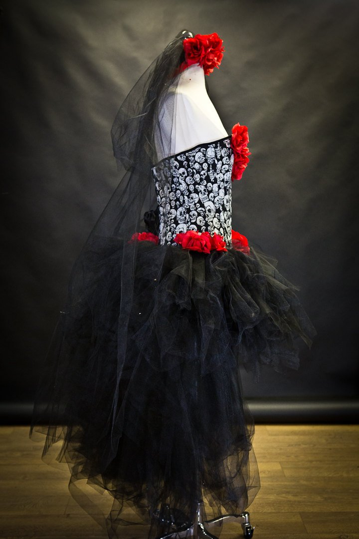 5967ad1999253 Custom Size Red White and black skulls and tulle burlesque prom dress with  roses Day of the Dead costume