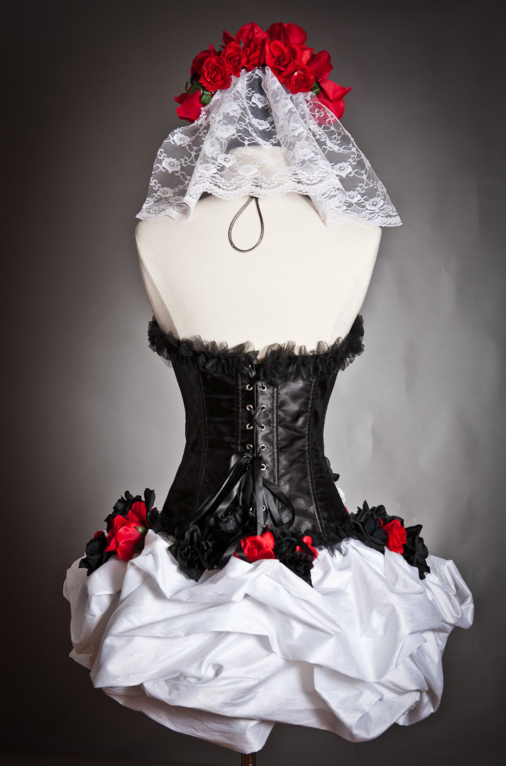 fb7520449f54c Custom Size Red White and black lace and tulle burlesque prom dress with  roses Day of the Dead costume