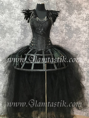 9ffff5d571 custom size black raven crow caged high low black feather burlesque corset  costume dress with feather il fullxfull 1324184512 aitb.jpg