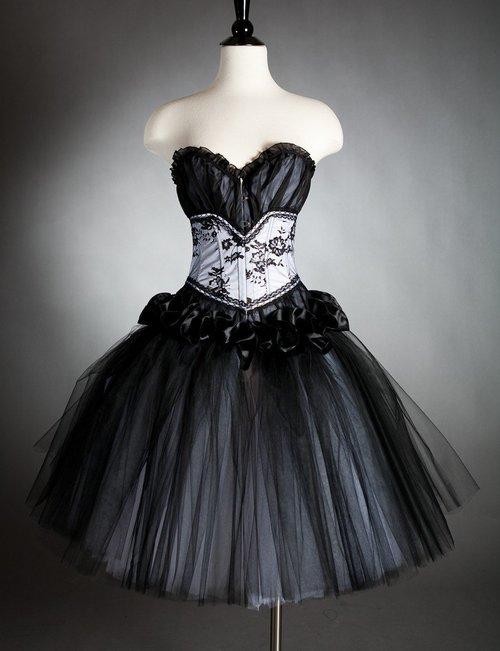 Custom Size Black And White Tea Length Tulle Burlesque Corset Prom
