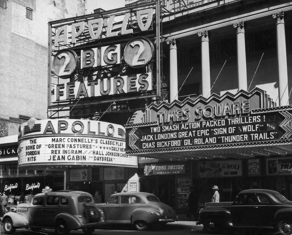 The Apollo and Times Square Theatres, circa 1941. Credit: Getty Images.