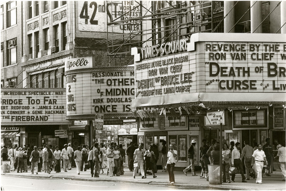 The Apollo and Times Square Theatres, circa 1977. Credit: New York Historical Society