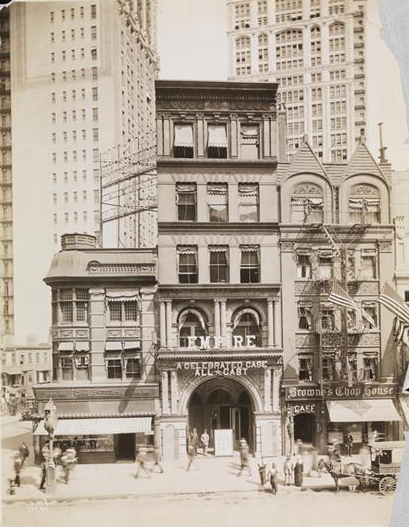 Historical photo of the original Empire Theatre, which was moved west along 42nd Street, and converted into a modern multiplex movie theater. Credit: New York Historical Society