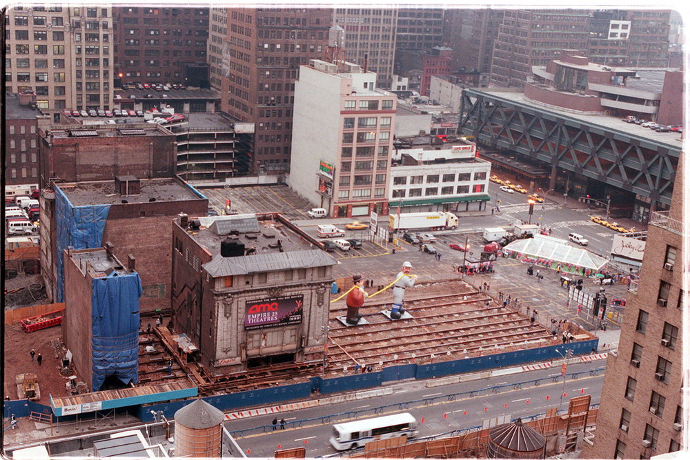 The Empire Theatre being moved west on 42nd Street to accommodate the development of a new hotel. Credit: The New York Times