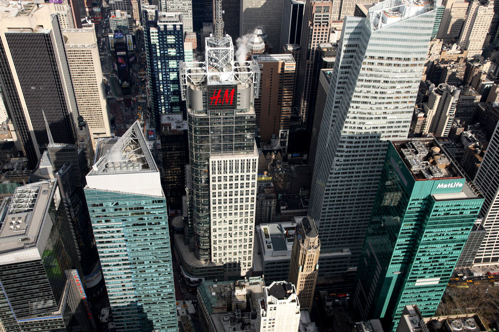 Four Times Square (H&M), former headquarters of Condé Nast, and the first building built as part of the 42nd Street Development Project. Credit: The Durst Organization