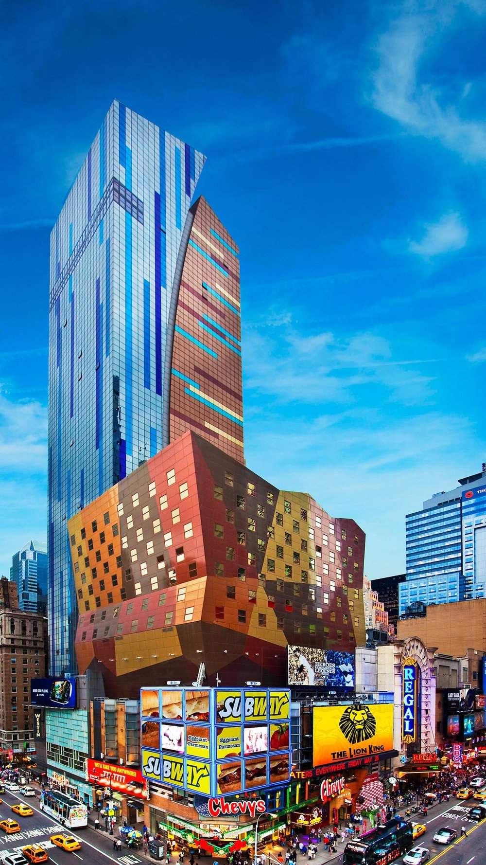 The Westin New York at Times Square, designed by the firm Arquitectonica. The hotel anchors the 42nd Street Development project on 8th Avenue between 42nd and 43rd Streets. Credit: The Westin New York at Times Square