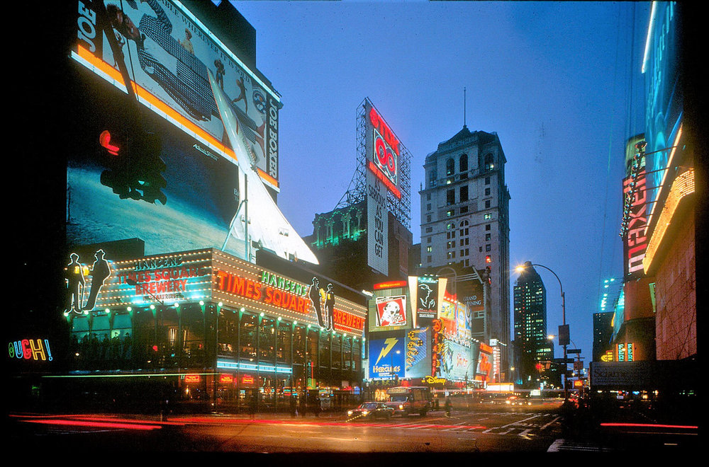 The Times Square Brewery, with the scale replica of a Concorde jet on its roof, was one of the business that moved to 42nd Street once the seedier businesses on the block had been condemned and moved out. Credit: Peter Aaron/Otto for Robert A.M. Stern Architects